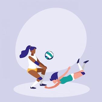 Mujeres practicando voleibol icono aislado
