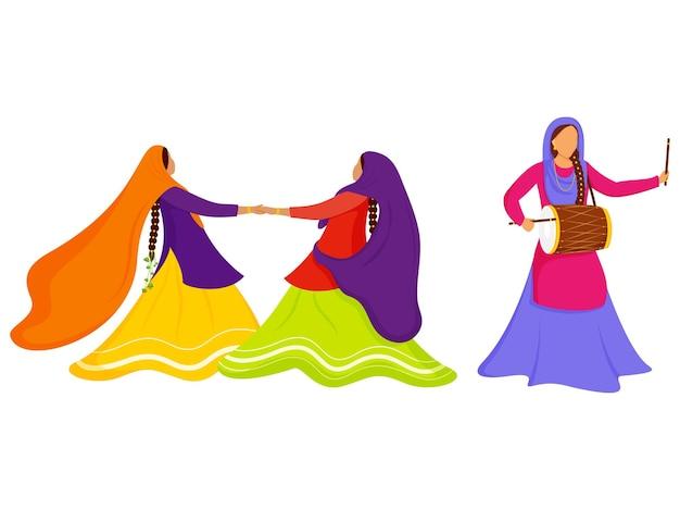 Mujeres punjabi de dibujos animados disfrutando o celebrando con el instrumento dhol sobre fondo blanco.
