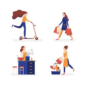 Mujeres que disfrutan de la colección de actividades de tiempo libre