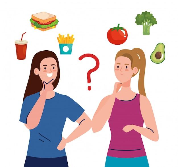 Mujeres que eligen entre comida sana y no saludable, comida rápida versus menú equilibrado