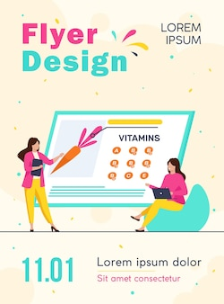 Mujeres que estudian vitaminas en la plantilla de volante de alimentos orgánicos