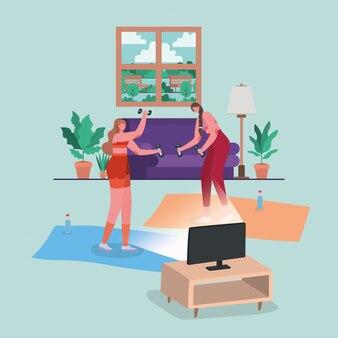 Mujeres que hacen deporte en la alfombra frente al diseño de computadora del tema stay at home