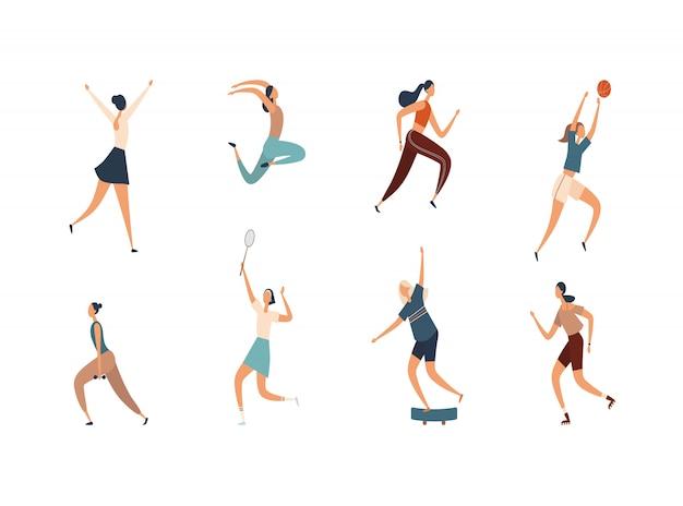Mujeres que realizan diversas actividades deportivas. ilustración