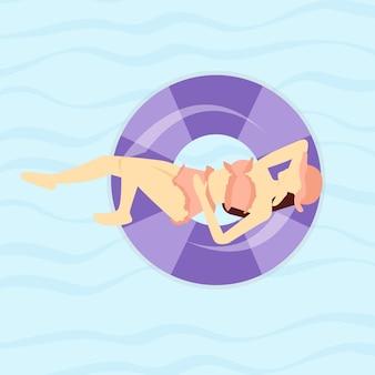 Las mujeres que se relajan en la piscina flotan en la piscina, disfrutan del verano y se relajan. ilustración vectorial