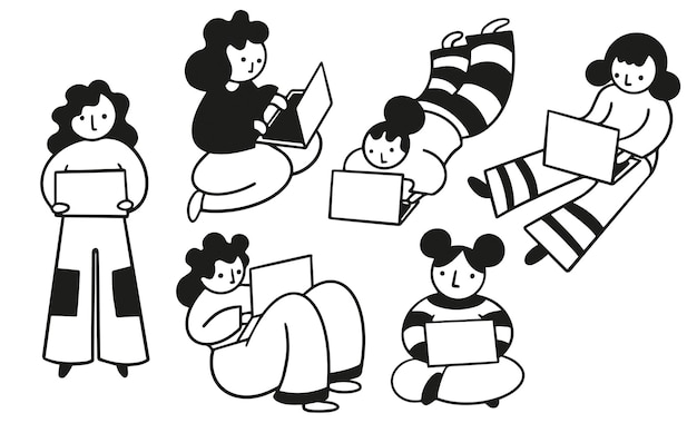 Mujeres que usan computadoras portátiles dibujadas a mano