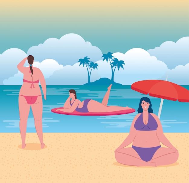 Mujeres regordetas lindas en traje de baño en la playa, grupo de mujeres felices en la temporada de vacaciones de verano, diseño de ilustración vectorial