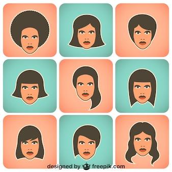 Mujeres retro en colección de personajes de vector