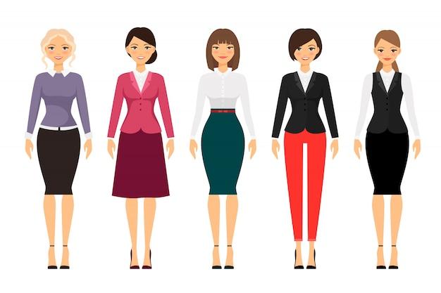 Mujeres en ropa de oficina