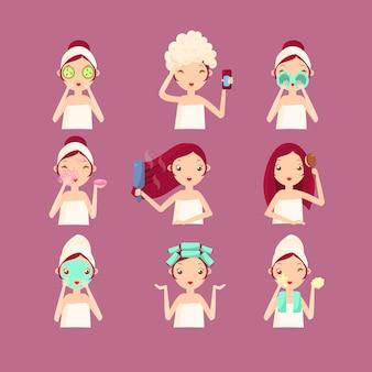 Mujeres en el salón beaty. ilustración plana