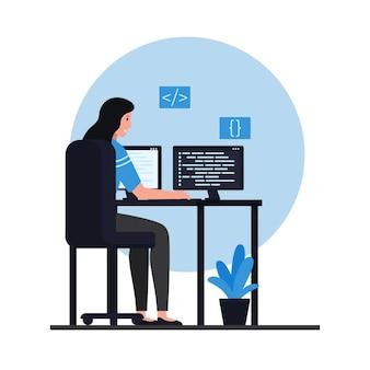 Las mujeres se sientan en escritorios y codifican aplicaciones. ilustración de programación plana.