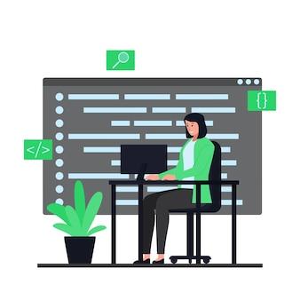 Las mujeres se sientan en escritorios y trabajan en programas de aplicación. ilustración de programación plana.