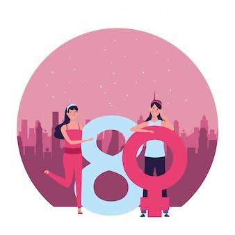 Mujeres con símbolo femenino y ocho ilustraciones redondas