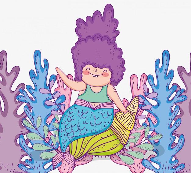 Mujeres sirenas con algas marinas y conchas.