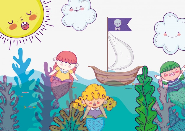 Mujeres sirenas con plantas de algas y barco.