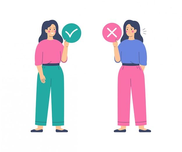 Las mujeres sostienen círculos con marcas de aceptación y rechazo. sí y sin concepto. ilustración vectorial