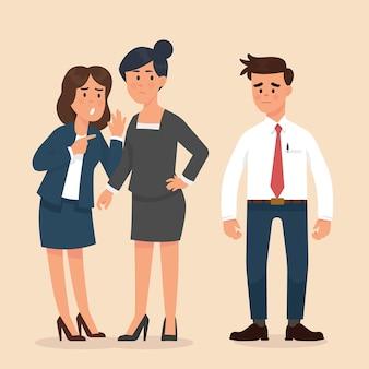 Las mujeres se susurran unas a otras frente a los trabajadores varones.