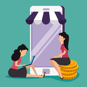 Mujeres con teléfono inteligente y computadora portátil para vender en línea