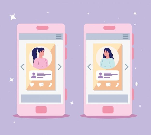 Mujeres en teléfonos inteligentes chateando