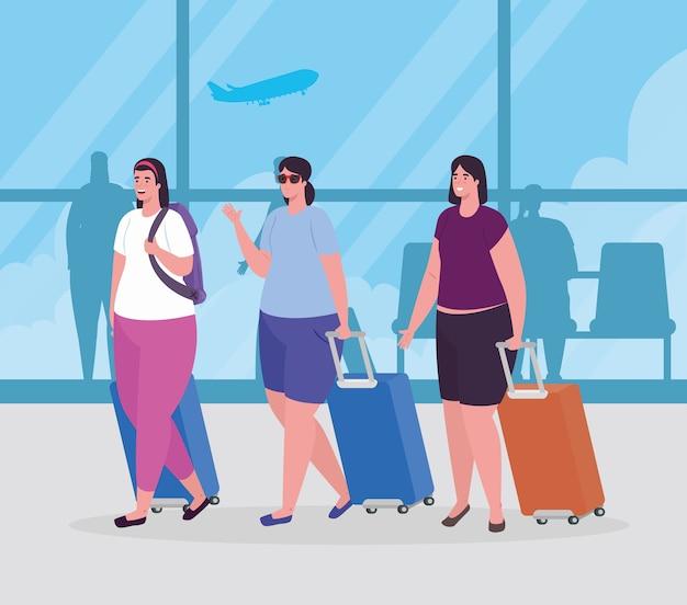 Mujeres en la terminal del aeropuerto, pasajero en la terminal del aeropuerto