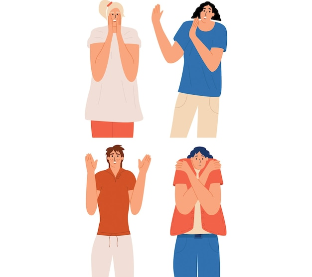 Las mujeres tienen miedo un conjunto de personajes con diferentes emociones de sorpresa, shock, pánico, miedo.