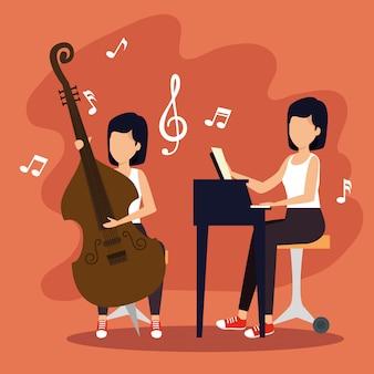 Las mujeres tocan instrumentos para el festival de jazz
