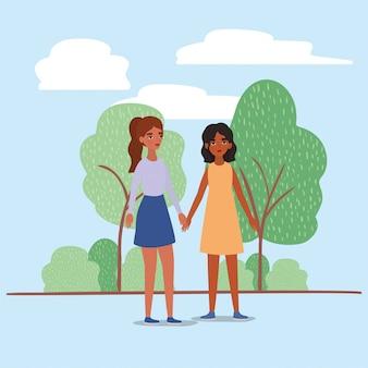 Mujeres tomados de la mano árboles arbustos y nubes