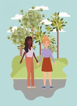 Mujeres tomados de la mano árboles y nubes