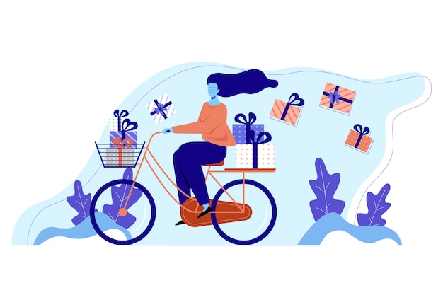 Las mujeres traen regalos y ciclismo en el parque. mujeres comprando muchos regalos. ilustración plana