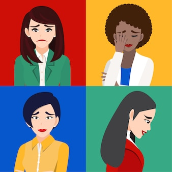 Mujeres tristes o personas infelices personaje de dibujos animados aislado