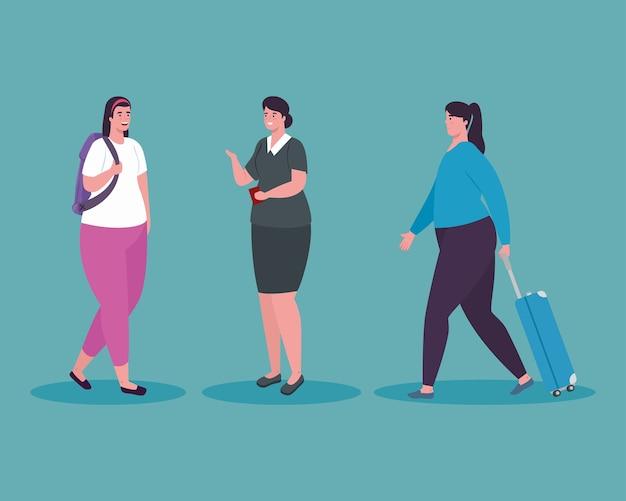 Mujeres turistas caminando y azafata