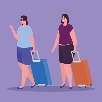 Mujeres turistas caminando con equipaje sobre fondo blanco.