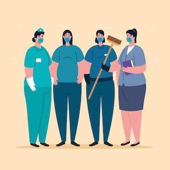 Mujeres con uniformes y máscaras de trabajadores de ilustración de tema de trabajadores de coronavirus
