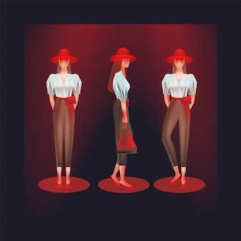 Las mujeres usan camisas y pantalones de talle alto de varias maneras.