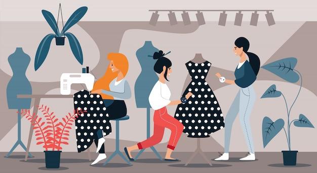 Mujeres en vestido de costura de estudio. involúcrese en la costura.