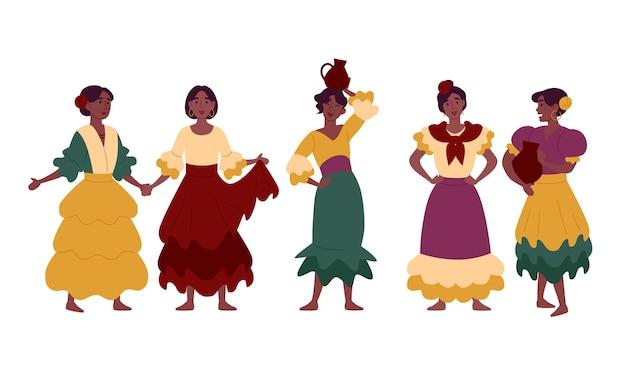 Mujeres en vestidos nacionales tradicionales, ropa festiva.