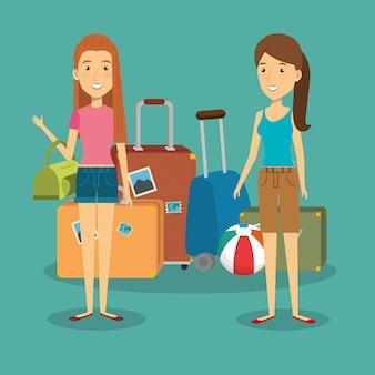Mujeres viajeras con personajes de maletas