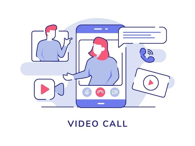 Mujeres de video de concepto de videollamada en la pantalla del teléfono inteligente que hablan hombres con estilo de contorno plano
