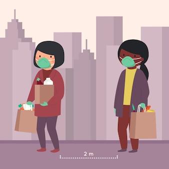 Mujeres con víveres manteniendo su distancia