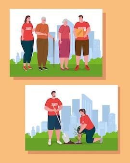 Mujeres voluntarias con caja de donación