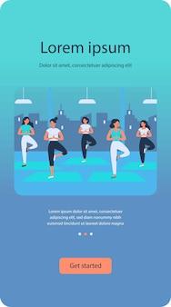 Mujeres yoga grupo plano