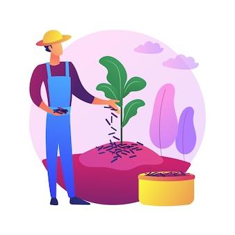 Mulching plantas concepto abstracto ilustración. revestimiento de suelo, protección de plantas, control de malezas, retención de humedad, cama de jardín, astillas de madera, tela de jardín, mantillo decorativo.