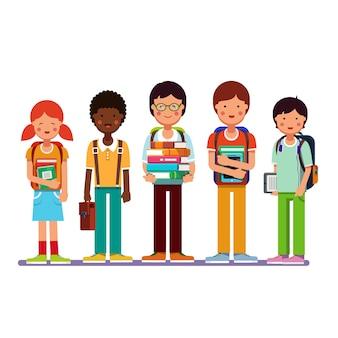 Multi étnico, grupo, escuela, estudiantes, niños