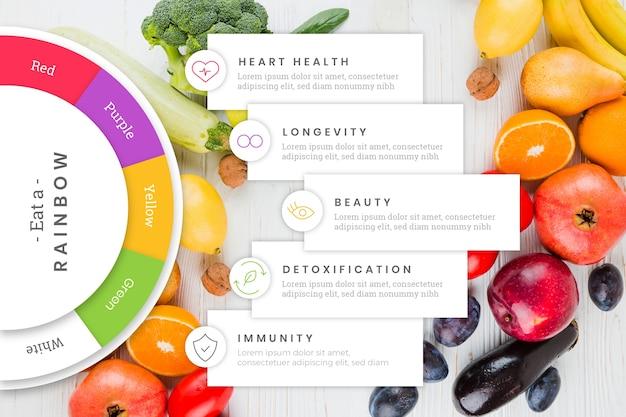 Multicolor comer una plantilla de infografía arcoiris