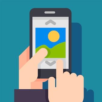 Multimedia, concepto de aplicación de álbum de fotos.