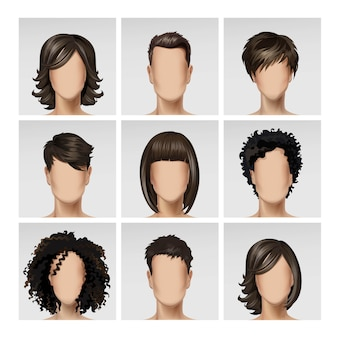 Multinacional masculino rostro femenino avatar perfil cabezas pelos conjunto de iconos