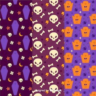 Múltiples modelos de patrón de halloween dibujado a mano