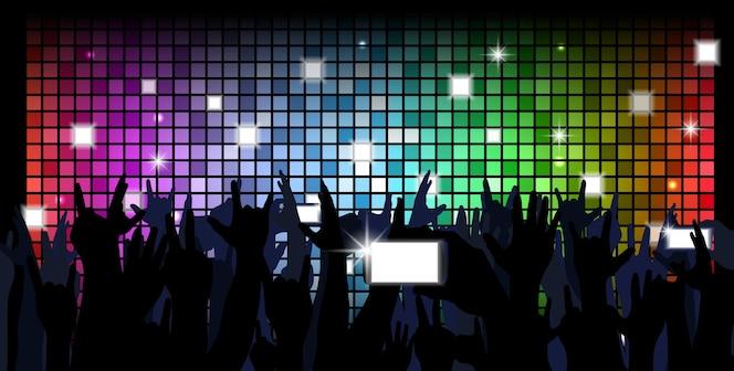 Multitud colorida de fondo de siluetas de gente del partido
