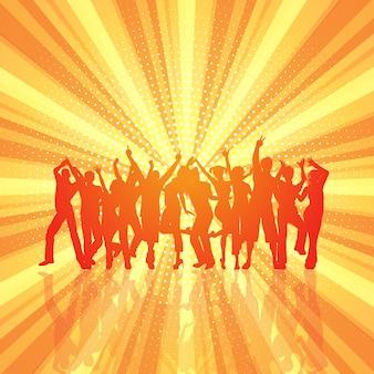 Multitud de fiesta en el fondo retro starburst