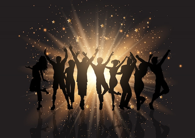 Multitud de fiesta en un fondo de starburst