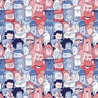 Multitud diversa de personas - banner transparente de diferentes caras dibujadas a mano. patrón sin costuras